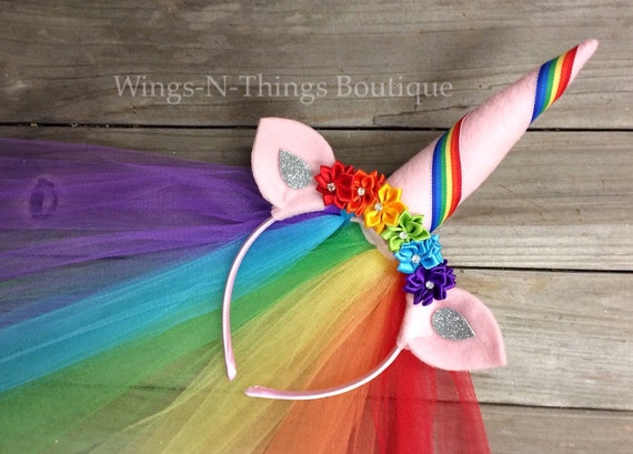 Unicorn Rainbow Crown Headband W Tulle Veil Hair Flowers