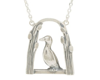 Sterling Silver Duck in the Bulrushes Necklace