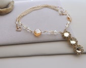 Swarovski Crystal, Amber and Gold Statement Chain Necklace for Weddings, Special Occasions, Spring, Summer, Winter, Gift for Her, Formals