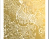 Gold Foil Richmond, VA Map, Gold Foil Map of Richmond Gold Print, Real Gold Foil Print, Wall Art, Richmond Virginia Map Print
