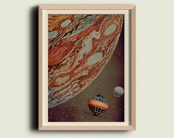 Wall art  Space travel to Mars Vintage Style Print home decor