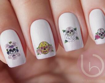 Mexican Sugar Skull Nail Decal, Nail Design, Nails, Press On Nail Decal, Nail Design, Nail Art