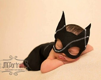 Mask Only - Newborn Catwomen Mask Only for Newborn Girl - Girl Super Hero - Photography Prop - Comic Book Character for Girl