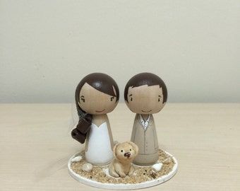 Wedding Kokeshi Cake Topper with 1 Pet