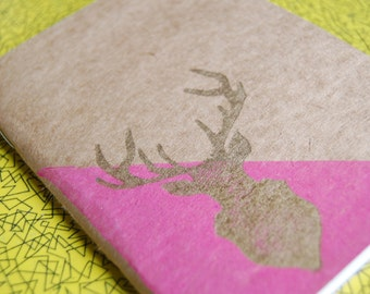 Hand Printed Deer Pink and Gold A6 Sketchbook