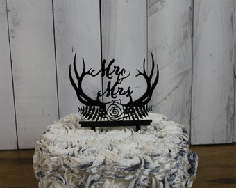 Wedding Cake Topper/Antlers/Laurel/Mr and Mrs/Cake Decor/Top for Cake/Cake Decoration/Hunter/buck