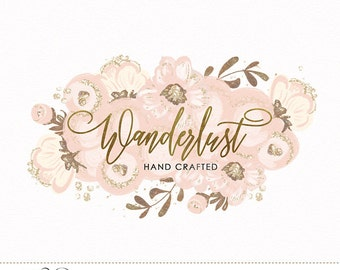 Blush Flowers Glitter Logo Design - Custom Premade Hand Drawn Flowers & Gold Foil Calligraphy for Wedding Photography, Boutique