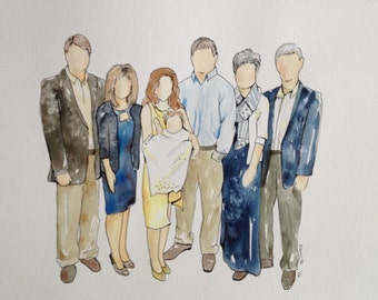 Customized Family Watercolor Portrait 8X10