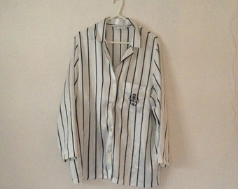 Vintage 80's White Satin Silky Pyjama Blouse Shirt Top Black Stripes Embroidery Long Sleeve