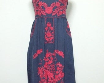 Embroidered Mexican Sundress Cotton Strapless Dress In Blue With Lining, Beach Dress