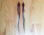 Long Feather Earrings with Red, Black and White Pheasant & Chicken Feathers