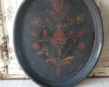 Primitive Tole Painted Tray, Antique Folk Art with Crackled Paint