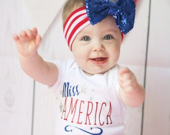 Miss America, 4th of july outfit, red white and blue baby outfit , labor day outfit, baby onsie