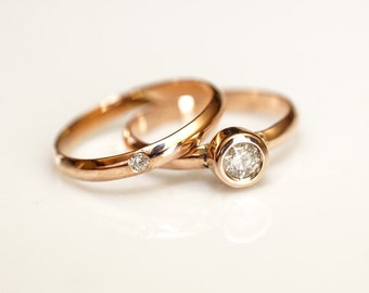Diamond Wedding Set Gold DIamond Engagement Ring Rose Gold Diamond Ring Flush Set Diamond Diamond Wedding Band Set