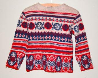 1960s patterned jaquard cropped jumper, red white & blue, size S/M