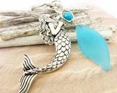 Mermaid Keychain, Mermaid Key Chain, Mermaid Accessories, Car Accessories, Sea Glass Keychain, Beach Accessory