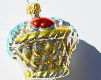 Silver Flower Basket Christmas Ornament German Glass Vintage Double Sided