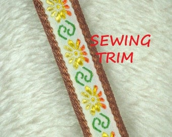 1 YARD, BROWN Orange Yellow 1 Inch, Embroidered Sewing Trim, Flowers, Green Stems, L154