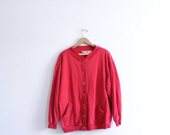 Minimal Red Snap Front Sweatshirt