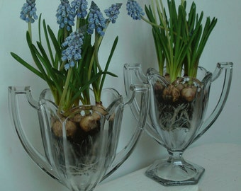 Perfect matching pair of Chippendale Trophy/ celery vases. Clear glass.