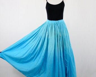 Vintage India Cotton Dip Dyed Blue Skirt by Zero Zero