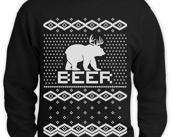 Beer Ugly Christmas Sweater Men Sweatshirt Funny Bear