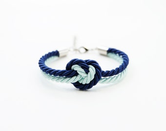 Nautical rope bracelet - will you be my bridesmaid bracelet - navy mint wedding - bridesmaid bracelet - rope knot bracelet - couple bracelet