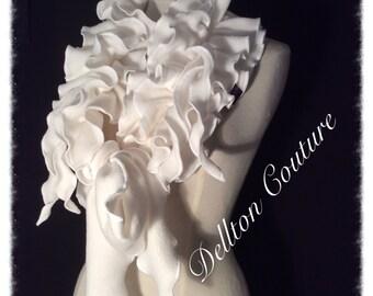 Ivory fleece Ruffled Scarf Collar. Makes a plain outfit look a million dollars. Jabot collar