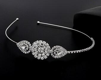 Crystal Rhinestone Wedding Headband, Bridal Head Piece, Bridal Tiara, Formal Headband, Wedding Headpiece, Hair Jewelry, Prom Headband
