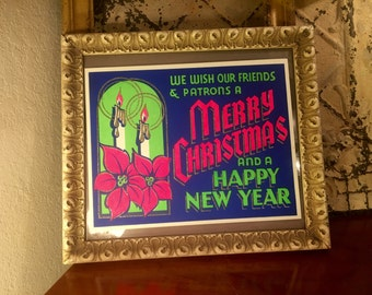 Vintage Department Store Window Hanging New Old Stock Christmas Sign Holiday Decor Glitter