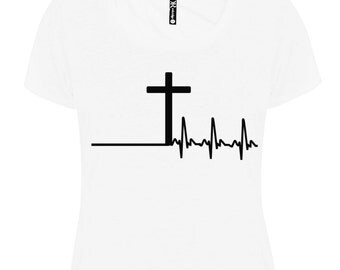 Christian clothing, Ladies white t-shirt, Cross and heartbeat, Regular T-shirt, Women's fitted tee