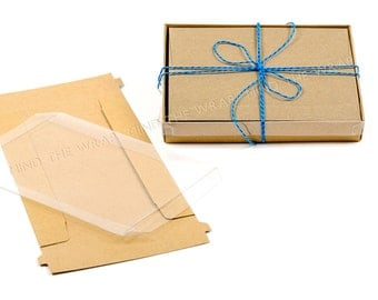 25 sets - A6 Kraft Box with Clear Lid - 4 7/8 x 1 x 6 3/4 inches - Fits A6 Cards & Envelopes
