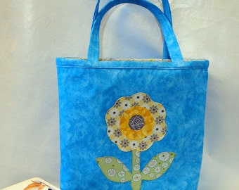 Child's Book Bag, Child's Tote, Library Bag, Girl's Floral Bag, Floral Book Bag, Child's Overnight Bag