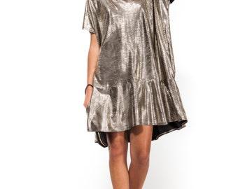 Short dress / evening dress / oversize dress / gold dress / peplum dress / lurex gold dress