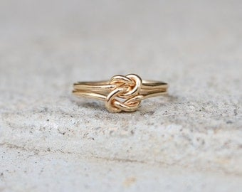 Celtic Double Love Knot, SIZE US 7 Gold Ring