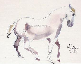 Original watercolor White Grey Horse painting -  Original WATERCOLOR - Sketch