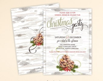 Christmas Party Invitation, Christmas Dinner Invite, Brunch, Open House, Cocktails, Tea, Christmas Corporate Party, Holiday Party, C13002