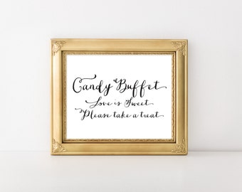 """INSTANT DOWNLOAD - Candy Buffet Printable Sign 8x10"""" DIY Wedding Swash style... Black"""