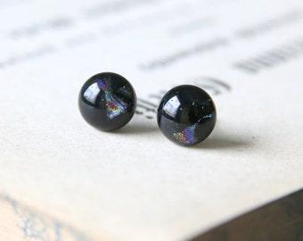 Northern Nights Earring Posts - Black Blue Purple Dichroic Glass Stud Earrings, Hypoallergenic Surgical Steel Jewellery Handmade by JosKii