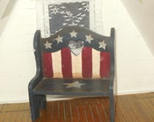 Miniature dollhouse vintage primitive Americana bench