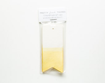 Yellow Dip-Dyed Watercolor Gift Tags (set of 10)