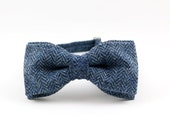 Men's Bow Tie by BartekDesign blue herringbone wool plaid pre tied