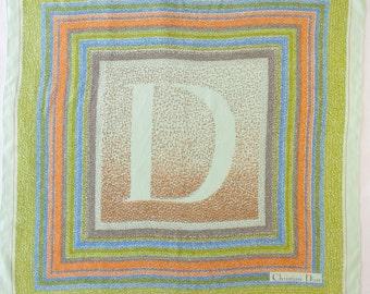 Vintage CHRISTIAN DIOR silk scarf - Green / Brown / Orange