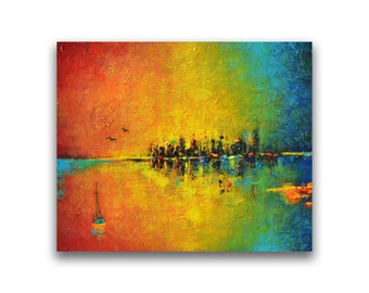 Colorful abstract seascape painting bright impasto textured modern contemporary canvas wall art