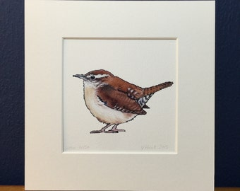 Wren Print - Mounted *Last order date for arrival before christmas 20th December*