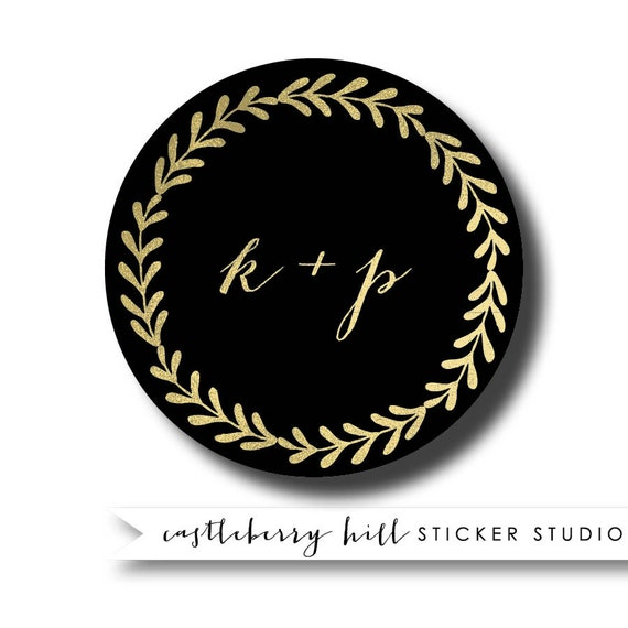 black and gold wedding stickers black and gold favor black