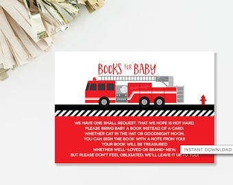 Bring A Book Insert Card, Fire Truck Baby Shower, Sound The Alarm,  Firefighter