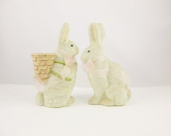 "A Pair of 1940s Easter Rabbits With Faux Sugar Coated Finish - 8"" Tall - Brown Bead Eyes - Easter Bunny - Fill Up The Basket"