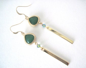 Green  earrings    Green and gold earrings     Gold and Green earrings