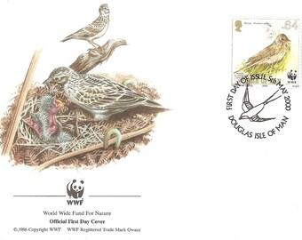 Skylark  - Bird First day cover - Stamp  Douglas isle of man 2000